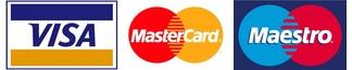 Logoer: Visa, Mastercard, Maestro